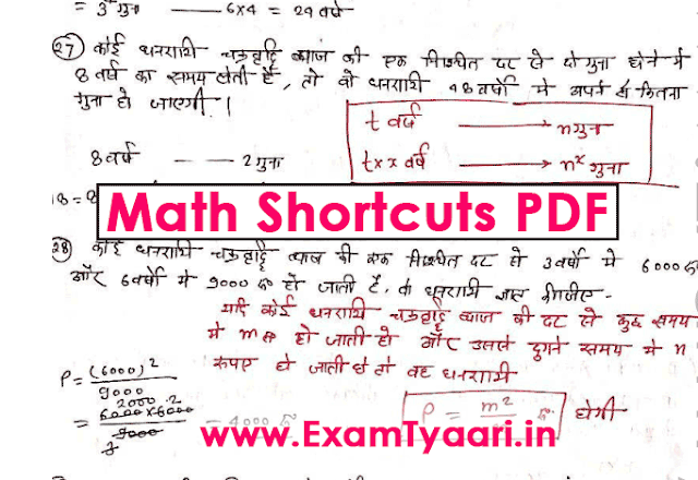 Download Best Handwritten Math Shortcuts Tricks, Solved Examples and Notes [PDF] - Exam Tyaari