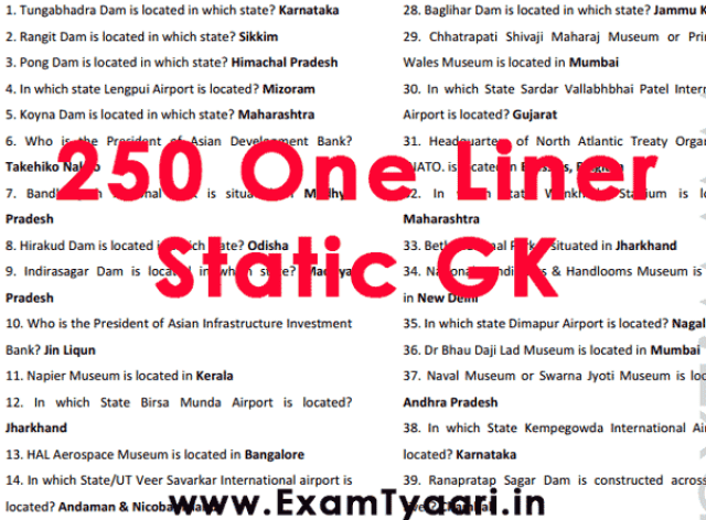 250 Static General Awareness PDF One Liner GK [PDF Download] - Exam Tyaari