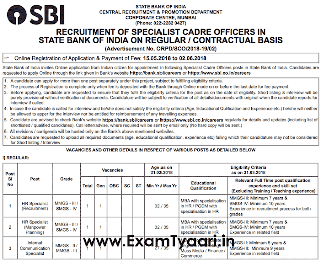 SBI SO 2018 Official Recruitment Notice - PDF Download - Exam Tyaari