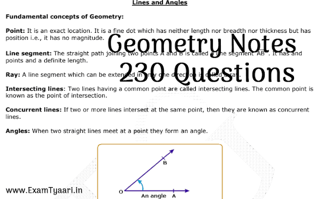 Download Geometry Notes PDF with 230 Lines & Angles Questions - Exam Tayari