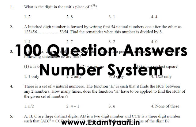 Top 100 Solved Questions on Number System [PDF Download] - Exam Tyaari