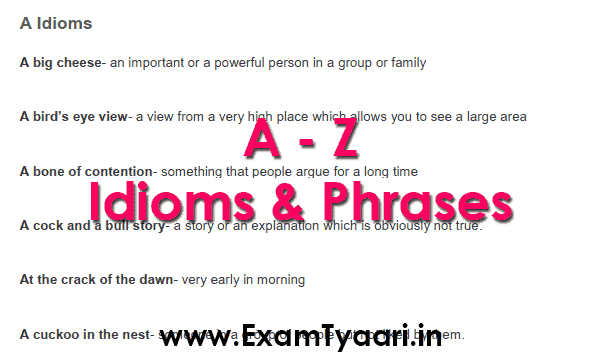 Download A to Z Idioms and Phrases PDF - Exam Tyaari