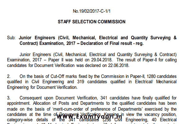 SSC JE 2017 Result PDF -Exam Tyaari