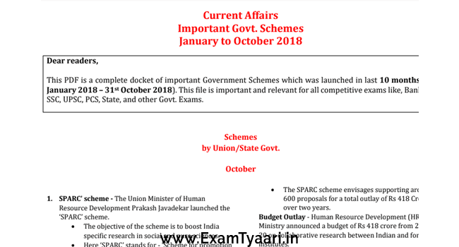 Important government schemes pdf - January to October 2018 - Exam Tyaari