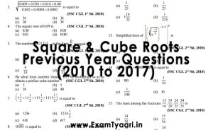 Download SSC Solved Square and Cube Root Previous Year Questions PDF - Exam Tyaari