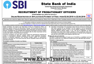 SBI PO 2019 Recruitment PDF - Exam Tyaari