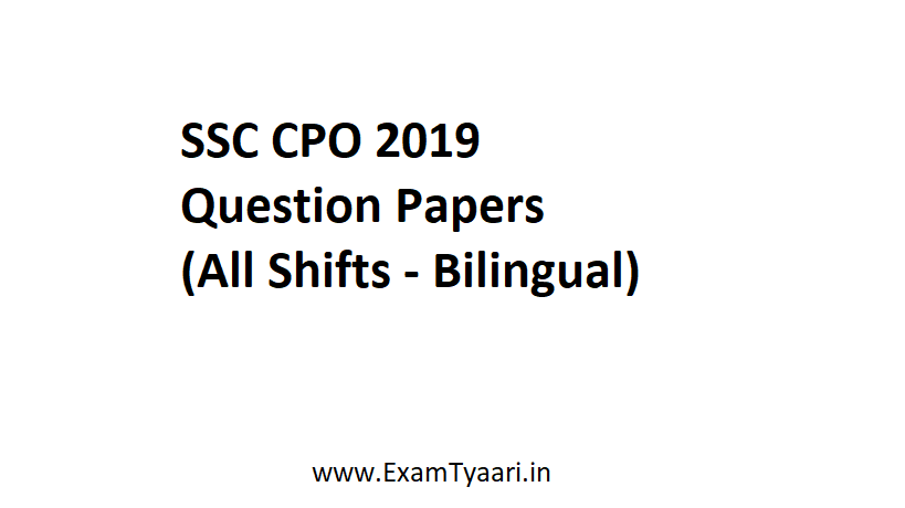 SSC CPO 2019 Question papers pdf - exam tyaari