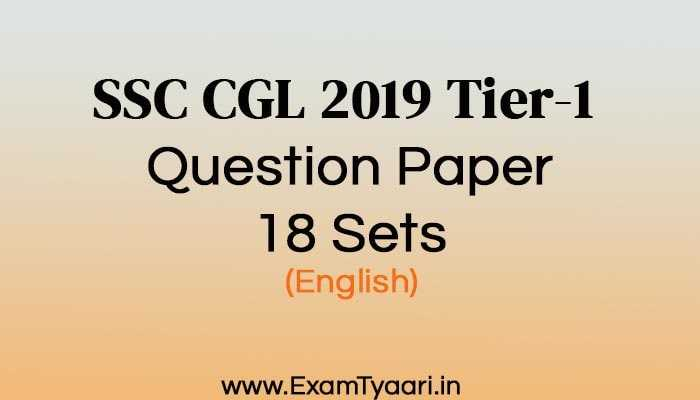 SSC CGL 2019 Tier-1 Question papers - Exam Tyaari