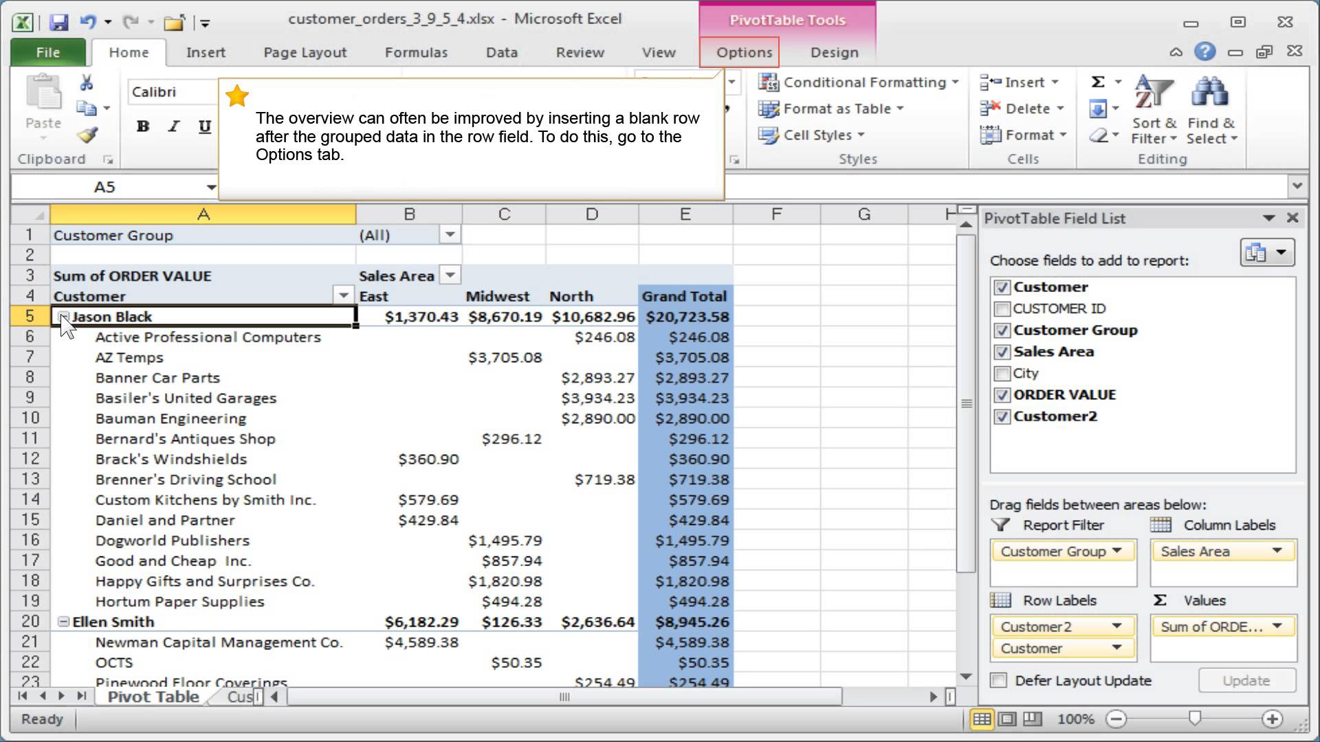 Excel Views Special Pivot Table