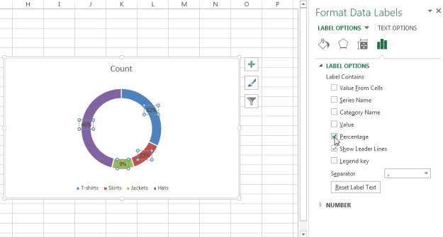 How to show percentages on three different charts in Excel - Excel Board