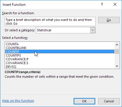 Insert Function Dialog Box