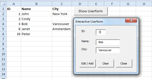 Excel Vba Interactive Userform