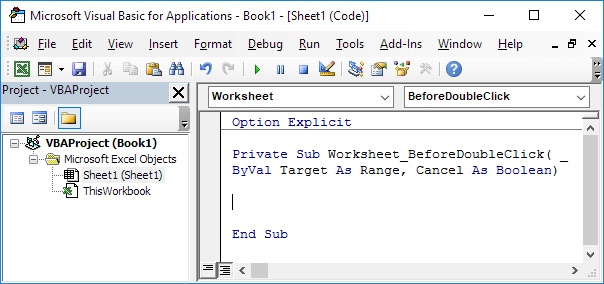 Excel Vba Beforedoubleclick Event