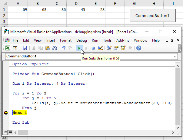 debugging in excel easy excel macros
