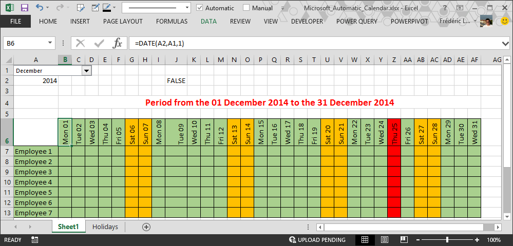 Calendar Planner Vb : How to make automatic calendar in excel