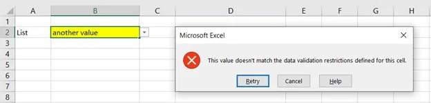 Fehler Dropdown Excel