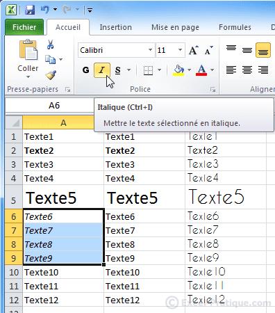 texte en italique - excel bases2