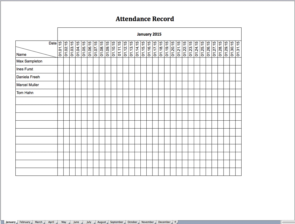 Attendance Template For Excel. Sample Attendance Chart 7 Documents
