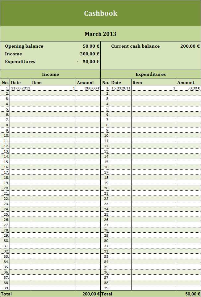 Free cashbook as Excel template | Excel Templates for every purpose
