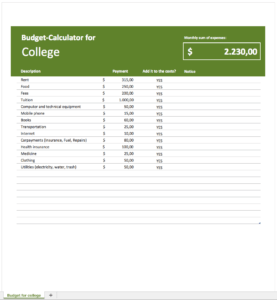 Budget-planner for college-students