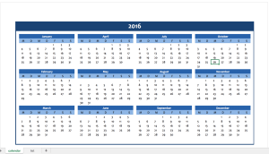 Yearly Calendar 2016 in blue
