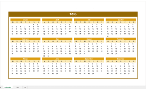 Orange Yearly Calendar for 2016 with an exceltemplate