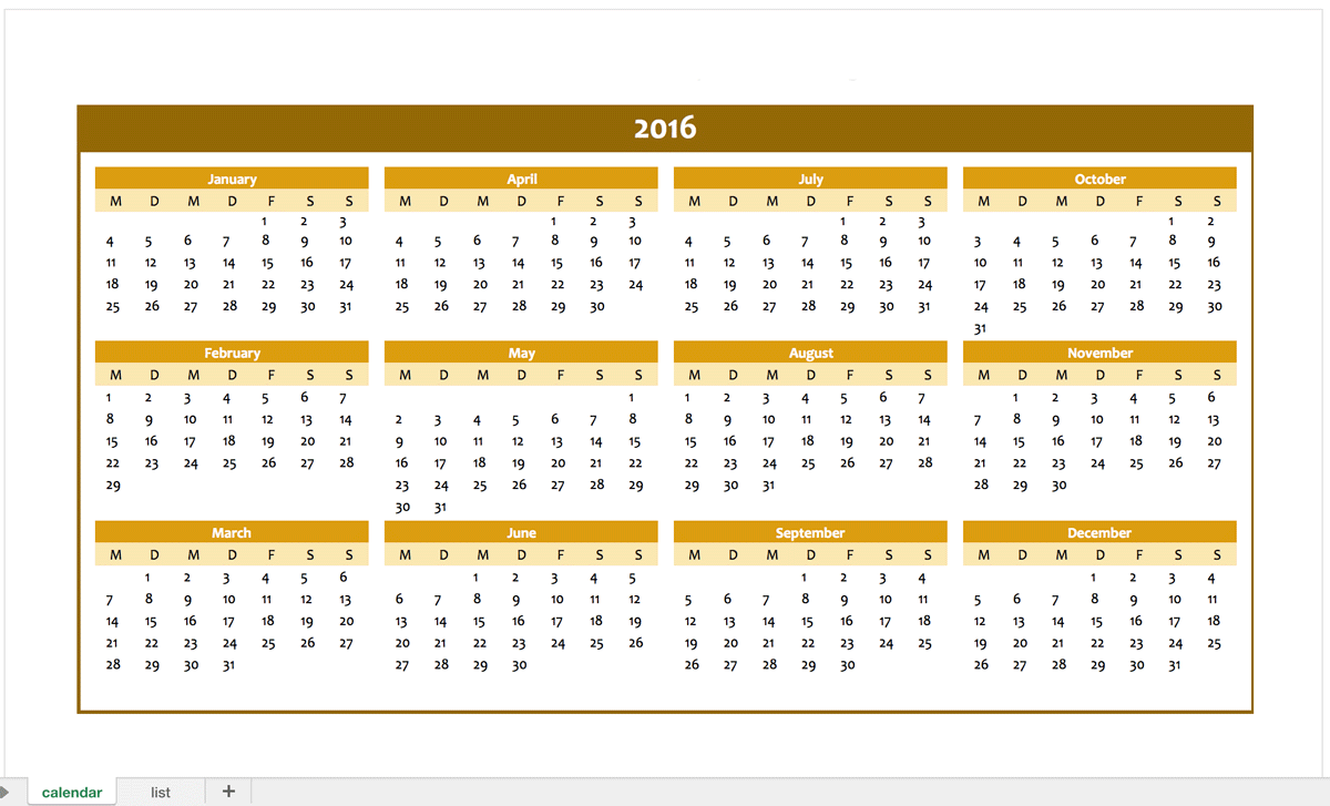 excel yearly calendar