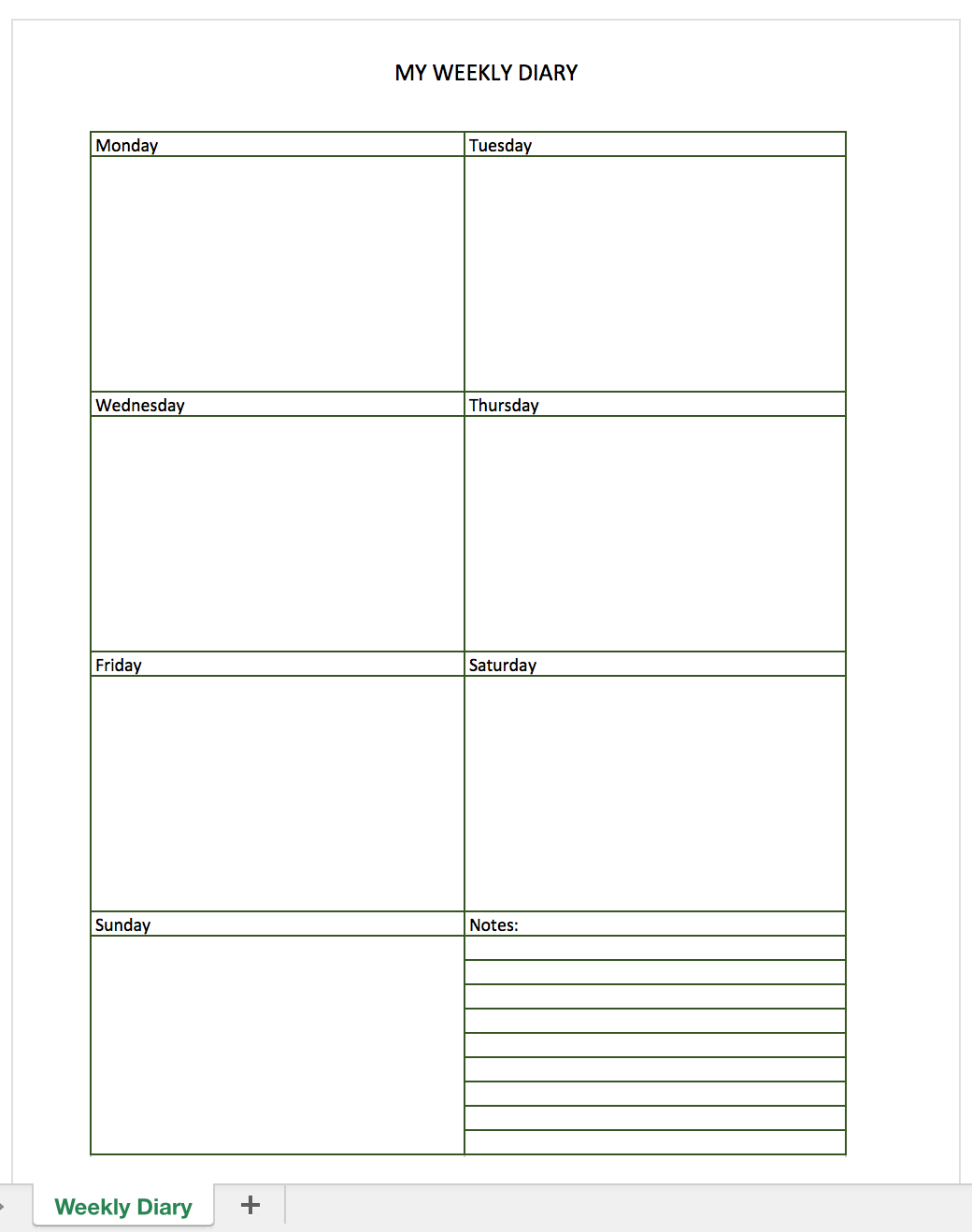 Free Diary for Excel | Excel Templates for every purpose