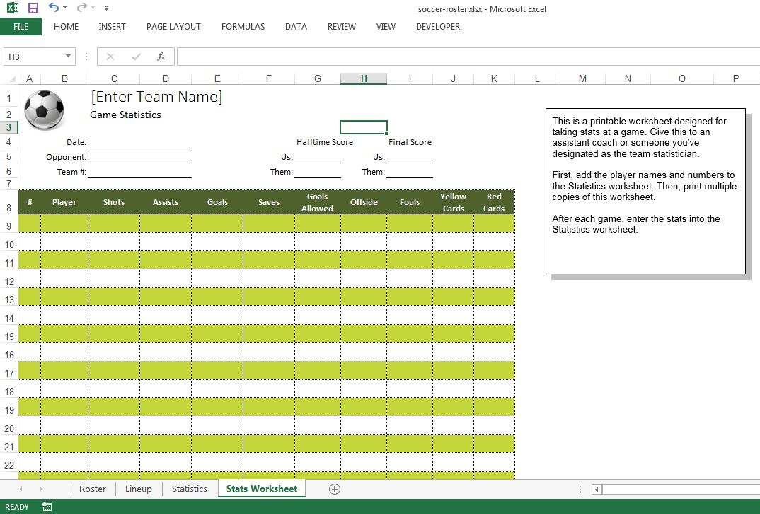 Soccer roster free excel template excel templates for for Sports team roster template