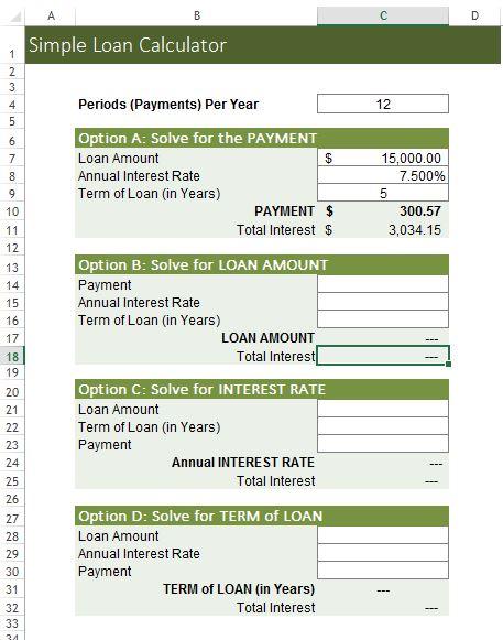 Simple Loan Calculator Excel Template