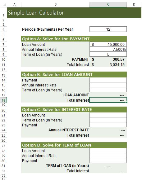 Simple Loan Calculator Excel Template  Loan Templates