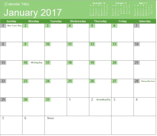 2017 Monthly Calendar Bold Free Excel Template