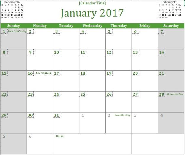 2017 Monthly Calendar Wall Free Excel Template