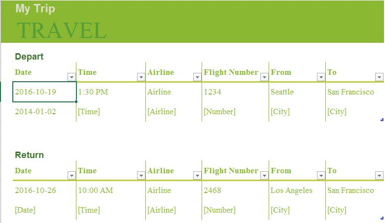 Trip Planner | Excel Templates for every purpose