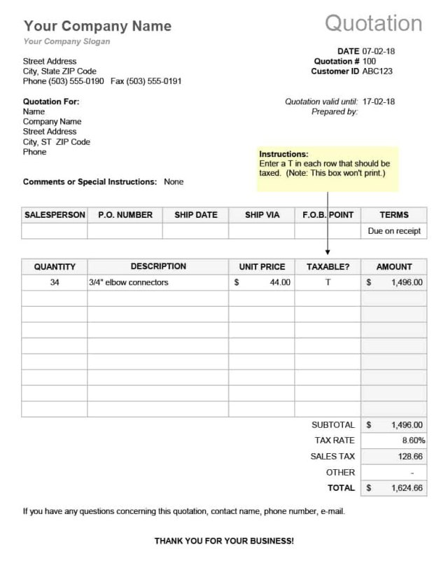 RFQ Template Excel or Word Format (Printable)  Excel21