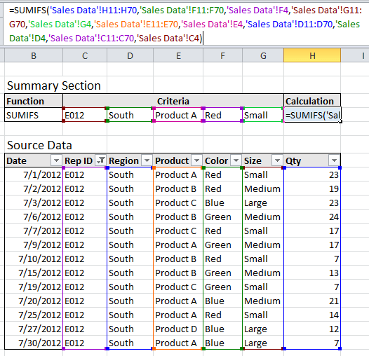 Long Excel SUMIFS Formula