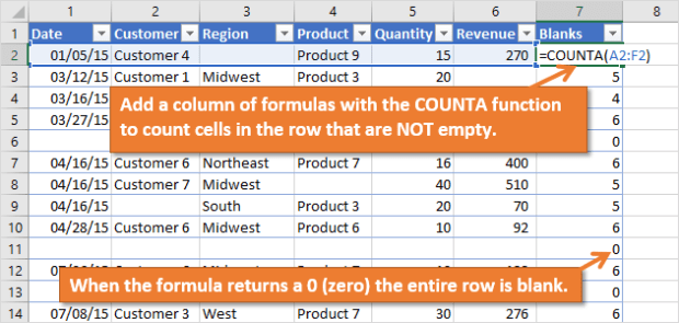 COUNTA Formula to Count Cells that are NOT Empty or Blank