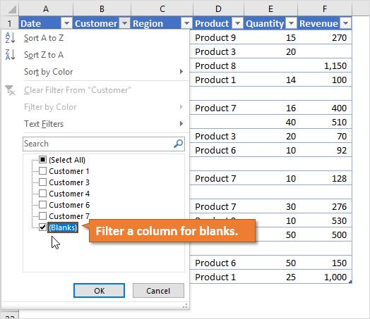 Filter a column for blanks
