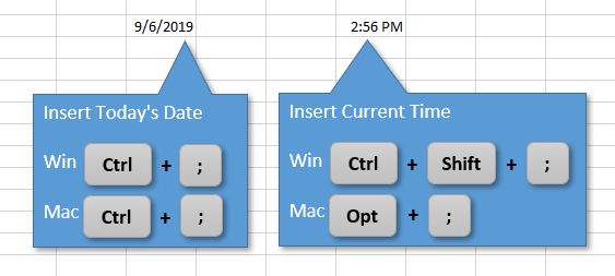 Insert Date or Time with Ctrl + semicolon