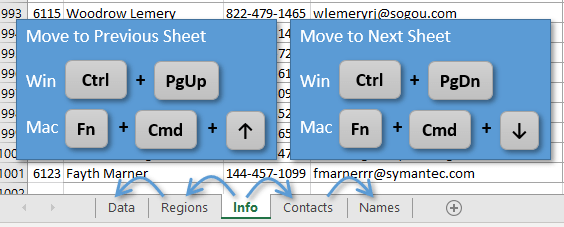 Select Other Sheets Using ctrl +PgUp or PgDn