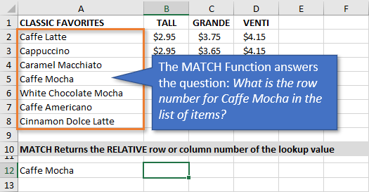 MATCH Function Returns the Row or Column Number for Matching Item in List