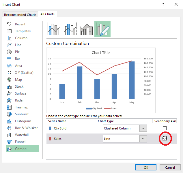 Checkbox to move Sales to Secondary Axis in Excel 365