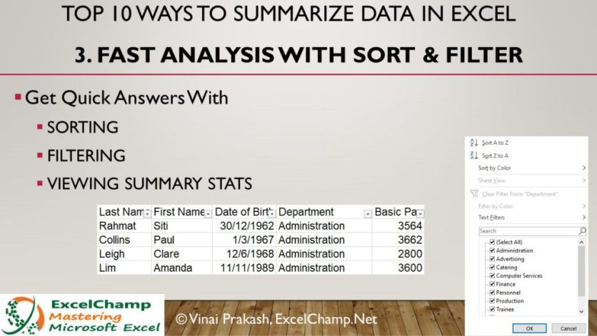 Use Sorting & Filtering With Excel Data