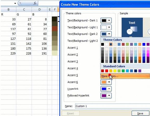 Excel color palette tutorial
