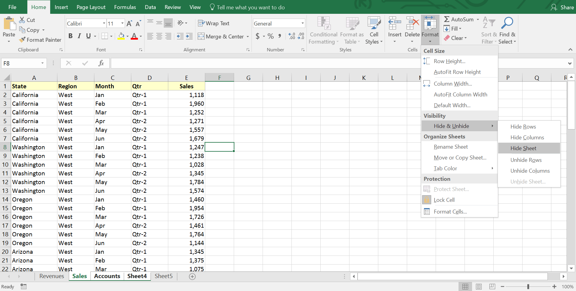 Excel Hide Worksheet From View