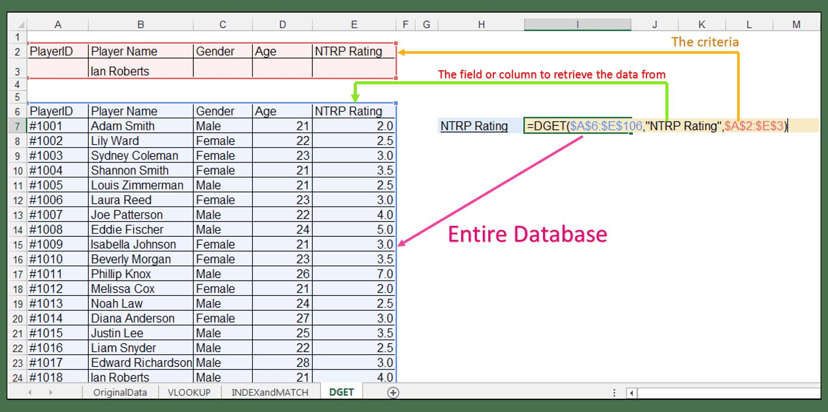 Index Match Vs Vlookup Vs Dget Excel Functions Comparison
