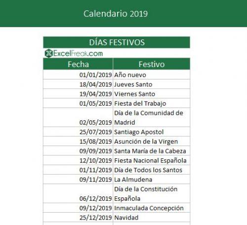 Calendario Laboral Madrid 2020 Excel.Calendario 2019 En Excel Para Imprimir Excelfreak
