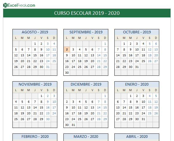 Calendario In Excel 2020.Calendario Escolar 2019 2020 En Excel Para Imprimir