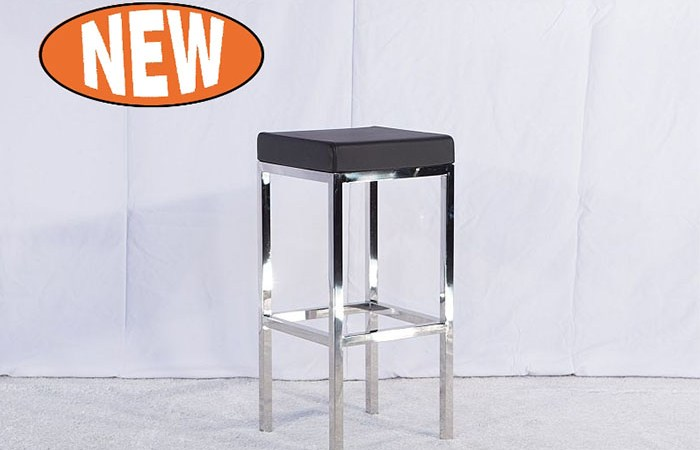 Mode Stainless Steel Bar Stool with black pad