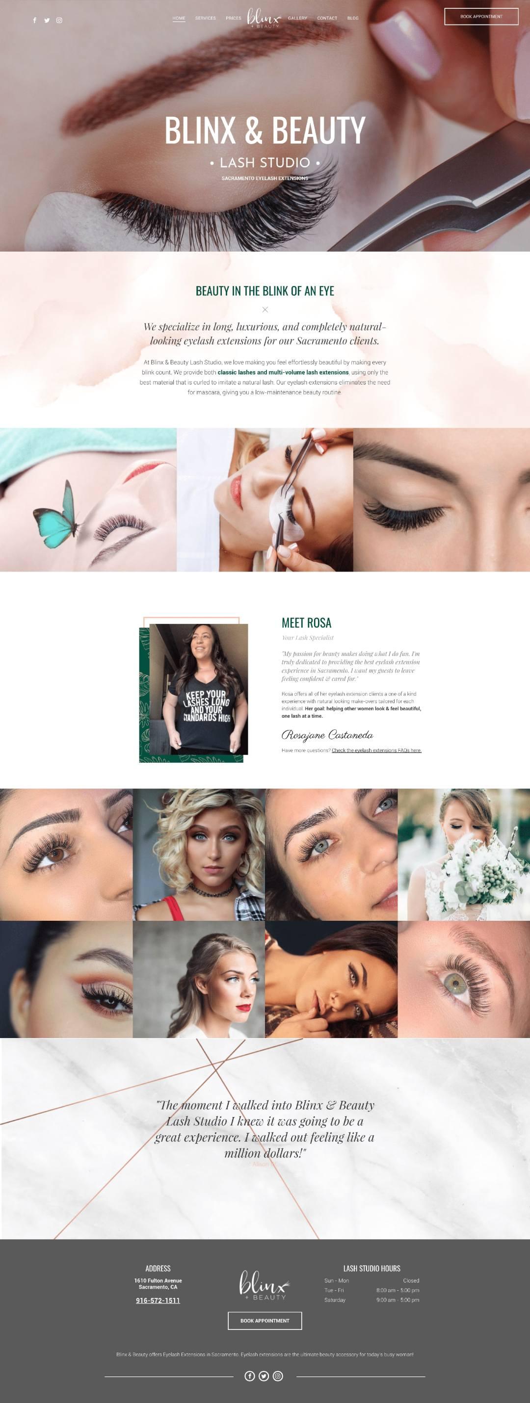 blinxandbeauty eyelash extensions website design min - Eyelash Extensions Branding & Website